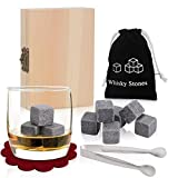 Whiskey Stones,Beautiful Gift Set for Christmas,PEYOU® [Set of 9] Reusable Drink Ice Cubes Granite Whisky Stones Sipping Rocks Wine Chiller with Handmade Wooden Box & Velvet Pouch Velvet Pouch, Stainless Steel Tongs and 2 Coasters