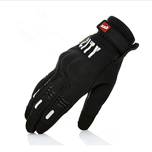 IRON JIA'S Professional Motorbikes Gloves Off-road Racing Gloves Knight Gloves Drop Resistance Touch Screen Gloves Guantes Luvas (Black, XXL) (L)