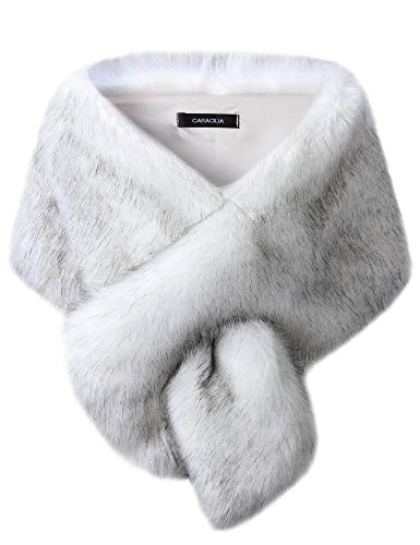 Faux Silk Jacket - Caracilia Women's Faux Fur Bridal Wedding Shawl and Wraps Winter Warm Party Evening Fur Stole baidiheijian CAFB3, White / Black Tip, Small