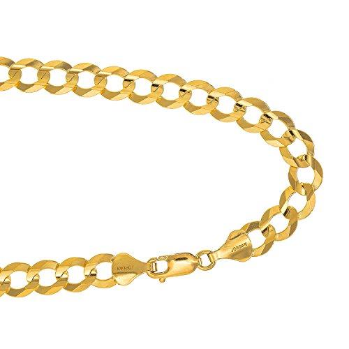 14kt Yellow Gold Mens Bracelet (Jewelstop 14kt Solid Yellow Gold 4.7mm Cuban Curb Chain Bracelet, Lobster)