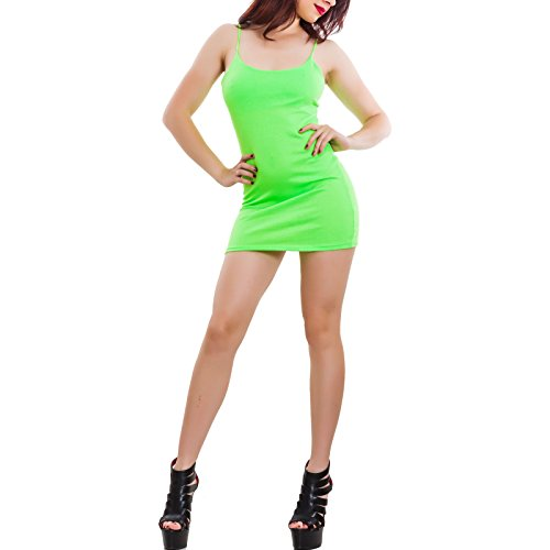 miniabito Fluo 2601 nuovo canotta maniche Toocool Verde basic senza aderente CJ hot donna Vestito ECHAxqO