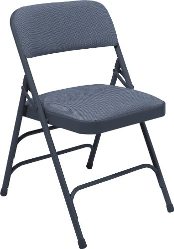 Triple Brace Fabric Folding Chair - Set of 4 (Blue Fabric / Blue Frame) (29.5H x 18.75W x 20.75D) by National Public Seating