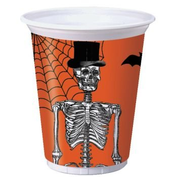 Creative Converting 016861 8 Count Plastic Party Cups, Spooky Scenes, Orange/Black