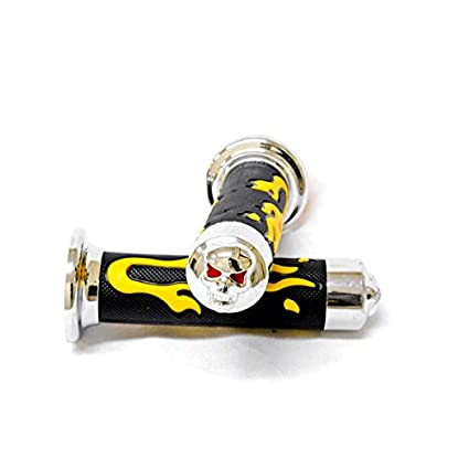 Amazon.com: Krator Yellow Skull Motorcycle Rubber Hand Grips ...