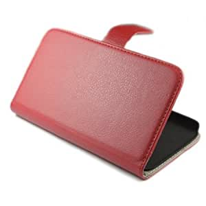 Viesrod Wallet Litchi Stand Leather Flip with Credit Card Holder Case Cover for Samsung Galaxy Mega 5.8 i9150 Red + 1...