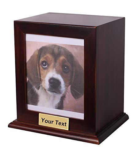 Custom Wood Personalized Engraved Photo Frame Pet Urn, Dog Cat Memorial Keepsake Urn (Color:Wood Medium)