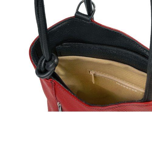 pour Rouge porté x 27 femme H MIO main à 32x30x9 IO dos Borsetta Icone® Rot x B le cm Sac T au IO Schwarz per 4Cw76q