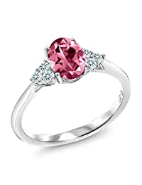 10K White Gold Solitaire w/Accent Stones Ring Set w/Pink Topaz from Swarovski