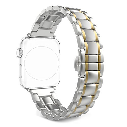 Band for Apple iWatch 38MM, Rosa Schleife Apple Watch Band 38 Stainless Steel Metal Replacement Smart Watch Strap Link Bracelet Wrist Band for Apple Watch Series 3/2/1 38mm(Not Fit 42mm - Bracelet Link Style Name