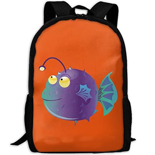 Webb Backpack Laptop Travel Hiking School Shoulder Bag Angler Fish Daypacks