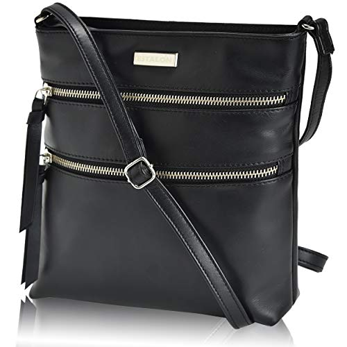 Over Black Leather - Leather Crossbody Purse for Women- Small Crossover Cross Body Bag Long Over the Shoulder Sling Womens Purses and Handbags