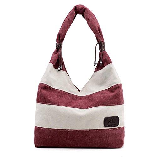 Fashion Handbag Women Lady Stripe Bag Wine GBSELL Canvas Casual Shoulder SqROd8adn