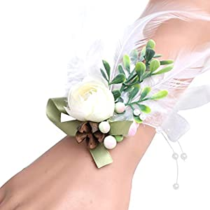 Coxeer Wedding Wrist Flower Faux Flower Feather Wrist Corsage Wrist Flower Wristband 112