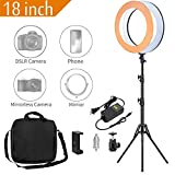 Photo : MACTREM Ring Light 18 inch 58W LED Dimmable Makeup Ring Light Adjustable Color Temperature 5500K Lighting Kit Ring Light with Stand,Hot Shoe Adapter,Camera Smartphone Video Shooting,Vlog and Makeup