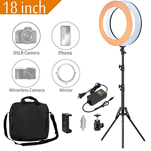 MACTREM Ring Light 18 inch 58W LED Dimmable Makeup Ring Light Adjustable Color Temperature 5500K Lighting Kit Ring Light with Stand,Hot Shoe Adapter,Camera Smartphone Video Shooting,Vlog and Makeup