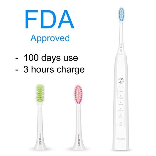 Electric Toothbrush USB Rechargeable 5 Modes 3 hours Charging 100 Days Working Waterproof 2 Replacement Heads (white) [並行輸入品] B07N4M53HZ