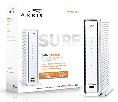 ARRIS SURFboard SBG6900AC Docsis 3.0 16x4 Cable Modem/ Wi-Fi AC1900 Router - Retail Packaging - White (Best Modem Router For Comcast Blast)