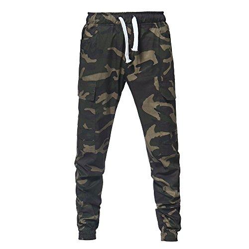 Fashion Men's Sport Camouflage Lashing Belts Casual Loose Sweatpants Drawstring Pant Ankle-Length Pants (XL, Army Green)