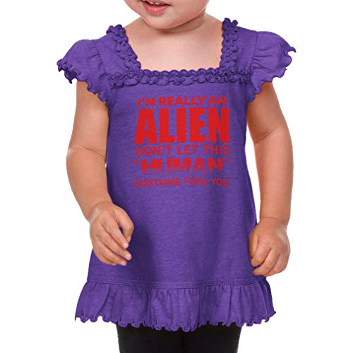 I'm Really an Alien Don't Let This Human Costume Fool You Short Sleeve Ruffle Scoop Neck Toddler Sunflower Top Tee - Purple, 24 Months ()