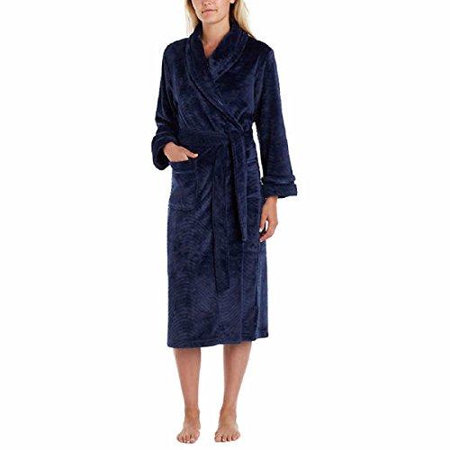 Carole Hochman Women's Soft Plush Fleece Wrap Bath Robe with Wave Detail (X-Large, Navy) ()