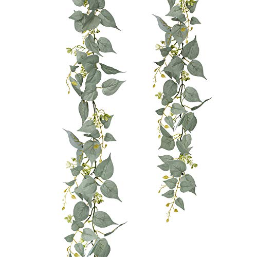 - Artiflr Hanging Vine Garland Greenery, 6 Ft Arrificial Vines Plant Floral Garland Wedding Vine Leaves String in Green for Indoor/Outdoor Wedding Decor Party Supplies Greenery Crowns Wreath