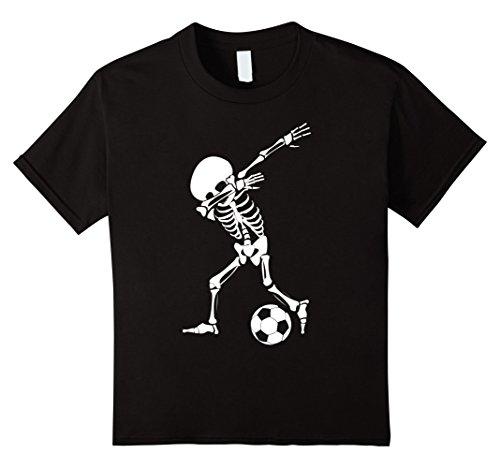 Kids Dabbing Skeleton Soccer Shirt - Funny Halloween Dab T-Shirt 6 Black (Halloween Tees For Kids)