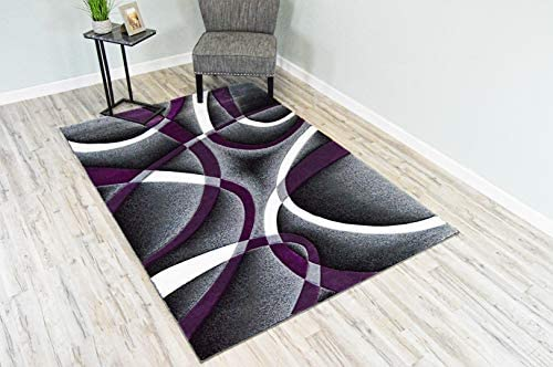 Premium 3D Effect Hand Carved Thick Modern Contemporary Abstract Area Rug Design 2305 Purple 4'x5'3'