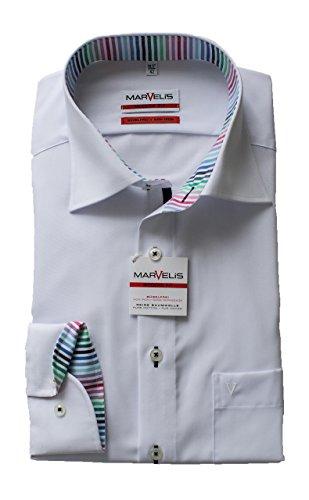 MARVELIS Hemd, Weiß, Modern Fit, Langarm 64cm, Kragen und Manschette ausgeputzt, Bügelfrei, 100% Baumwolle