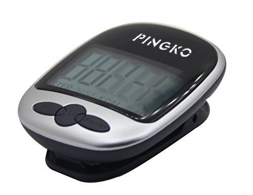 PINGKO Multi Function Portable Outdoor Sport Pedometer Step/Distance/Calories/Counter Black