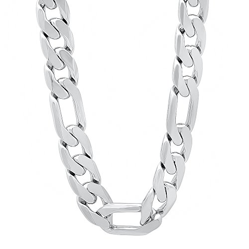 The Bling Factory Men's 12mm Rhodium Plated Beveled Figaro Link Chain Necklace, 36