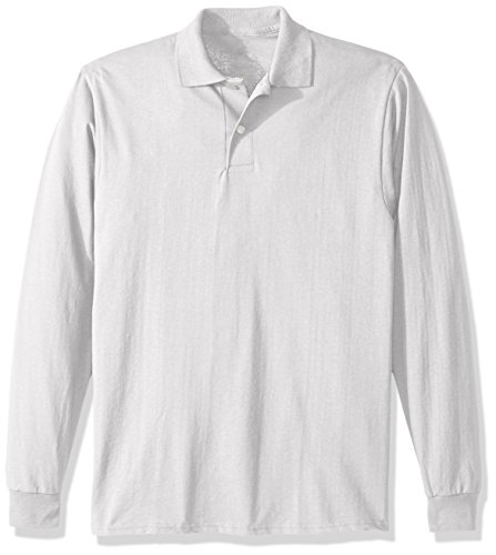 Jerzees Men's Spot Shield Long Sleeve Polo Sport Shirt, White, X-Large
