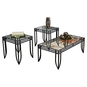 Ashley Furniture Signature Design – Exeter Glass Top Occasional Table Set – Contains Cocktail Table & 2 End Tables – Contemporary – Black/Brown