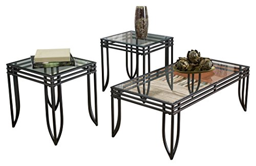 Signature Design by Ashley – Exeter Glass Top 3 Piece Occasional Table Set, Black Finish