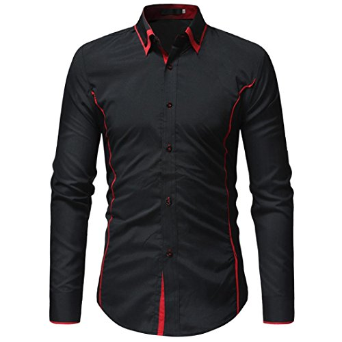 (WUAI Men's Formal Cotton Slim Fit Lapel Solid Color Casual Short Sleeve Shirts(Black,US Size S = Tag M))