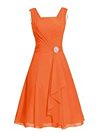 Women's Sleeveless Chiffon Mother of The Bride Groom Dress Formal Party Prom Gown Orange US16W