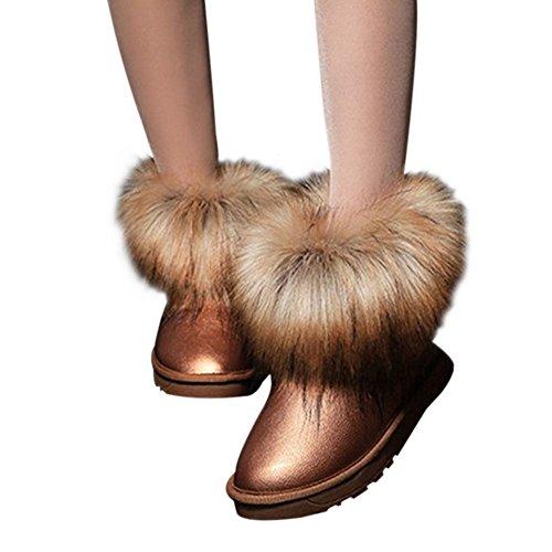 Haodasi Damen Frauen Winter Schnee Kunstpelz Fluffy Stiefeletten Warme Bequeme Beiläufige Flache Schuh Braun