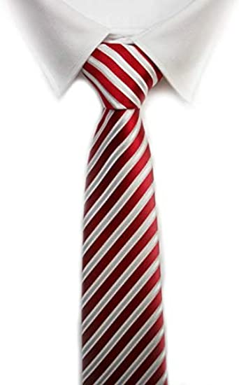 Corbata raya roja blanca: Amazon.es: Ropa y accesorios