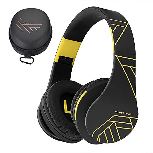 PowerLocus Bluetooth Over-Ear Headphones, Wireless Stereo Foldable Headphones Wireless and Wired Headsets with Built-in Mic, Micro SD/TF, FM for iPhone/Samsung/iPad/PC (Black/Yellow)