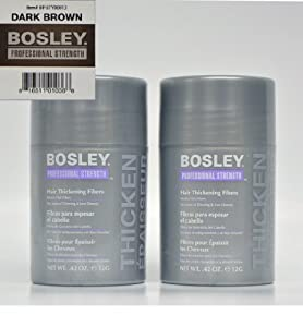 Bosley Thickening Keratin Dark Brown Hair Fibers, 2 Count