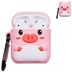 Punswan For Airpods 1 2 Charging Case 3d Cute Silicone Cartoon Airpods Charging Dock Cover Character Design Airpod Girls Kids Women Soft Full Protective Skin Cases With Carabiner Keychain Pink Pig