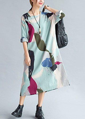 Long DcontracteTops Robe T Manche Imprime shirt Chic Longue Mode Vogstyle Clair Ample Bleu IwEdZ8Iq
