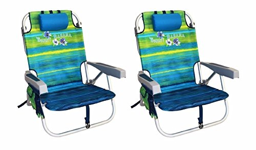 2 Tommy Bahama 2016 Backpack Cooler Chair with Storage Pouch and Towel Bar (Green/Blue Mix & Green/Blue Mix) by Tommy Bahama