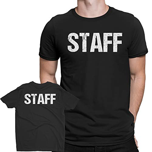 Black Staff T-Shirt Double Sided White Print Event Concert Party Festival Tee,X-Large