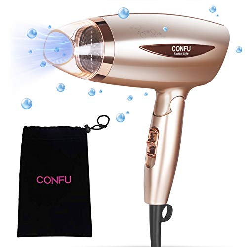Professional Ionic Portable Folding Hair Dryer, CONFU 1600W Ceramic Tourmaline for Home Travel, Low Noise Compact Small Size Lightweight Blow Dryer Best for Pregnancy Kids Use, Quiet Mini Hairdryer
