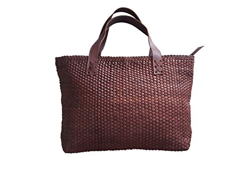 Leather Tote bag with woven pattern