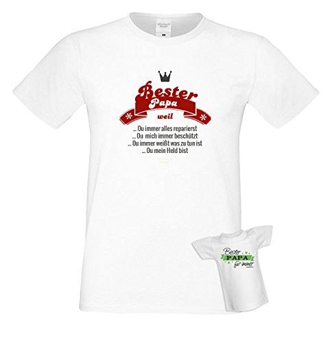TShirt Bester Papa Repariert Alles Ist ein Held Weiß lustiges Sprüche Shirt  für Väter mit Humor Geschenk Set zum Vatertag