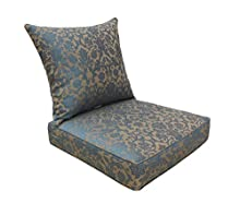 Bossima Indoor and Outdoor Cushion, Comfortable Deep Seat Design, Premium 24 inch Replacement Cushion, Includes Seat and Backrest, Blue/Brown Damask