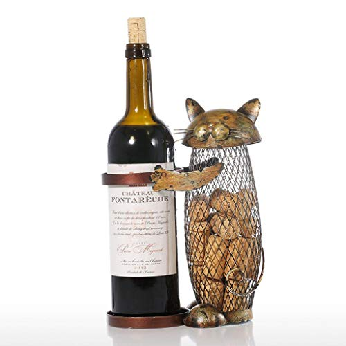 DiyItem Cat Wine Rack Cork Container Bottle Wine Holder Kitchen Bar Metal Wine Craft Wine Stand ()