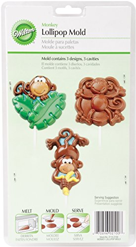 Wilton 2115-2100 Lollipop Mold Monkey, 3 Cavities/3 Designs