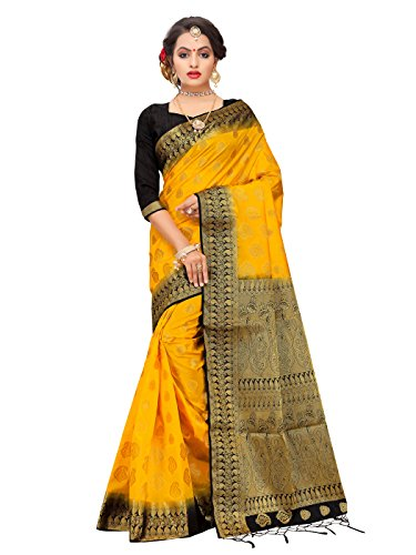 for Women's Banarasi Art Silk Woven Work Saree l Indian Wedding Sari & Blouse Piece (Yellow) (Kanchipuram Sarees)